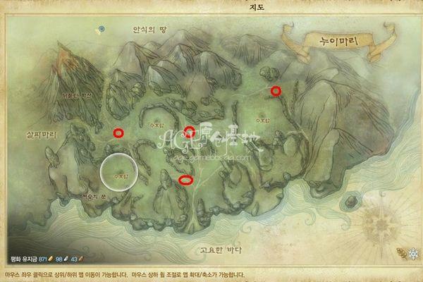 在上古世纪原大陆的四张领地地图上可以看到新