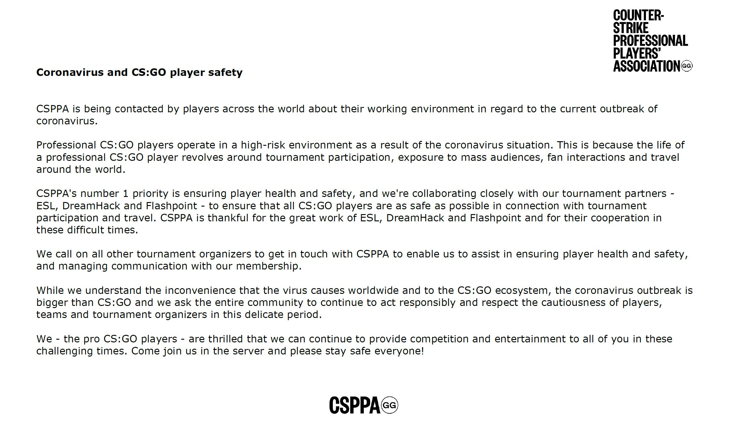 CSPPA发文致谢主办方的付出,呼吁严肃对待疫情爆发