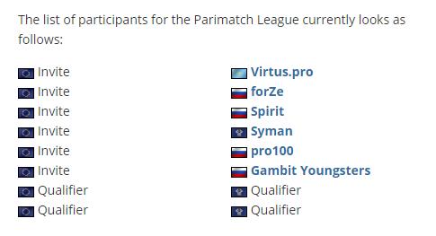 Parimatch联赛名单增加:Zeus率pro100进场