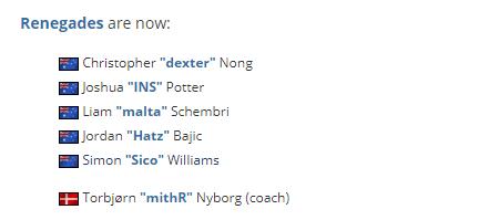 前北狮教练mithR加入Renegades备战里约Major预选