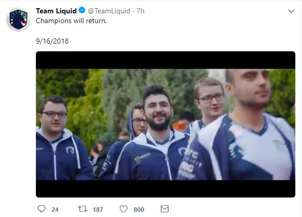 冠军归来,Liquid官方宣布新赛季阵容不变