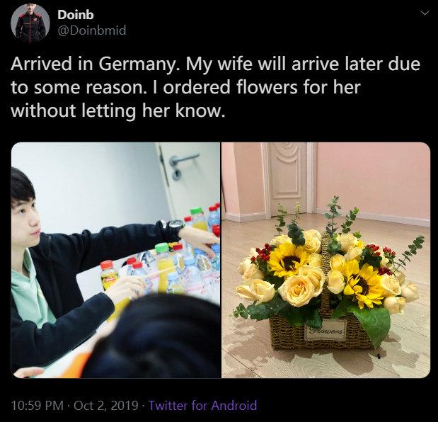 今日份的狗粮:Doinb偷偷为自己妻子订花