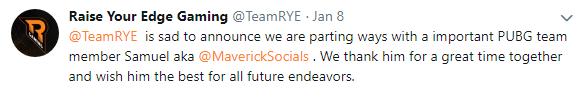 欧洲职业联赛参赛战队RYE队员Samuel aka宣布离队