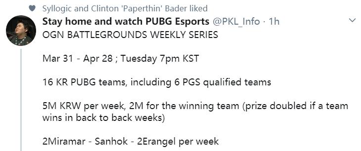 韩国周末系列赛本月底打响,六支PGS晋级队伍齐亮相