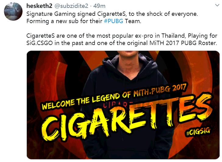 泰国人气选手CigaretteS复出,签约Signature担任替补