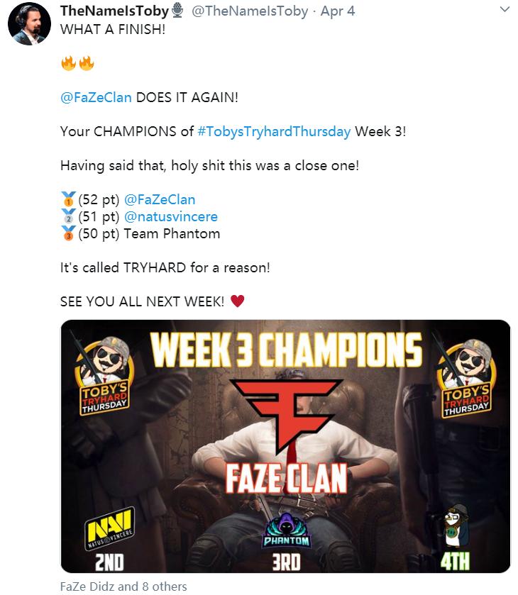 欧美训练赛第三周:FaZe蝉联冠军,Liquid排名十一