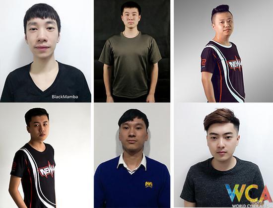 队员:Blackmamba(左上)、pla(中上)、smartshi(右上)、Mi5ERY(左下)、waerjili(中下)、Moki(右下)