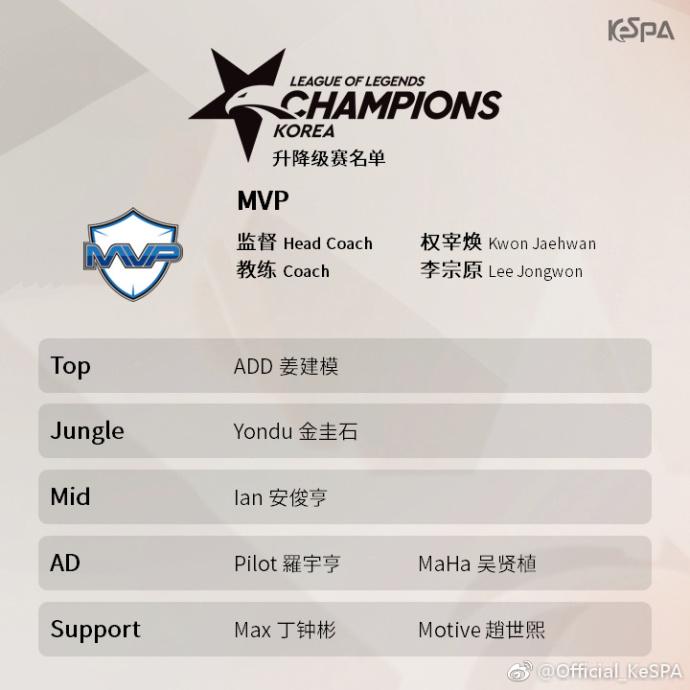 LCK春季赛升降级赛出战队伍名单:MVP、bbq人员保持不变