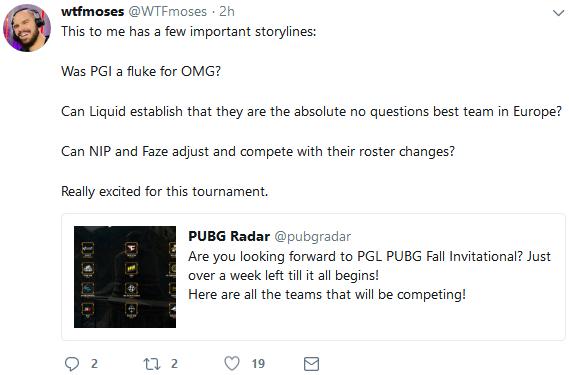北美知名主播wtfmoses发推文:PGL邀请赛着重关注OMG表现