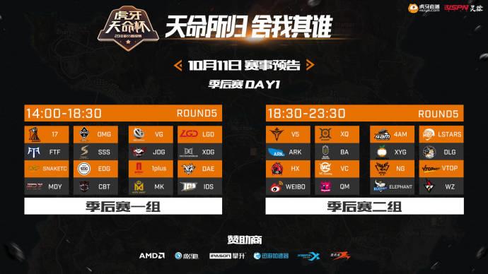 虎牙天命杯分组:一组17/OMG/SSS,二组4AM/V5/Weibo