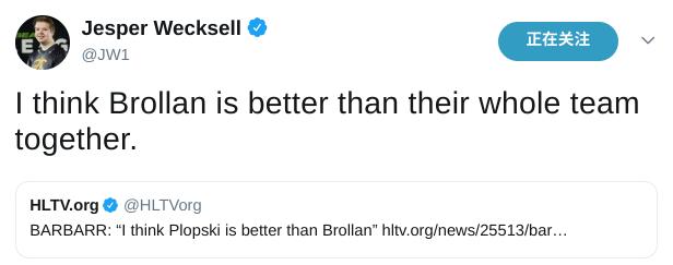 BARBARR表达不当 JW推特为Brollan发声