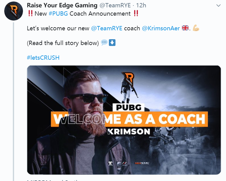 Krimson执教RYE战队:目标是拿到世界赛名额