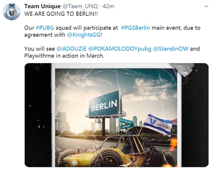 Knights转让直邀名额,Unique进入3月柏林线下选拔赛