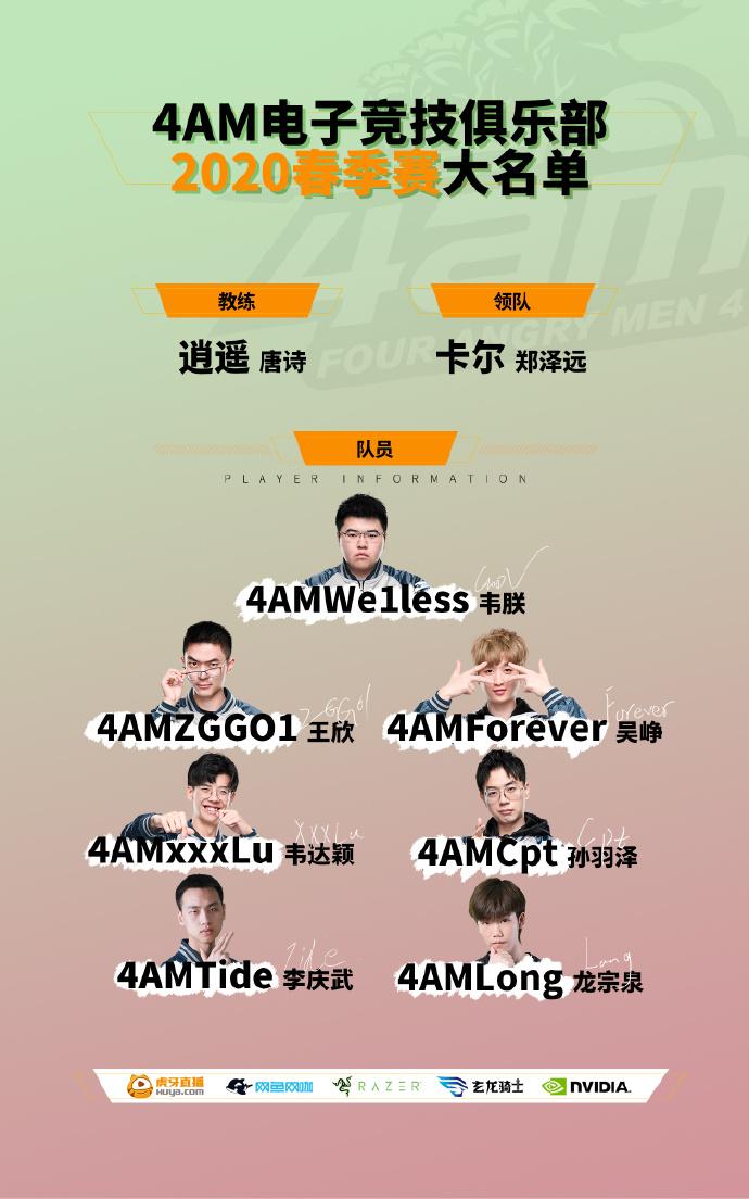 4AM官宣春季赛大名单,龙宗泉摆脱饮水机